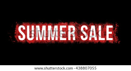 SUMMER SALE headline. Artistic illustration with red paint-splatters and scratches on black background and white, bold letters.