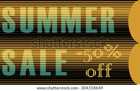 Summer Sale Inscription. Striped  Yellow Blue Letters