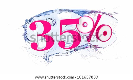 Summer sale or discount tags 35 percent water splash