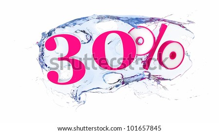 Summer sale or discount tags 30 percent water splash - stock photo