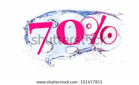 Summer sale or discount tags 70 percent water splash