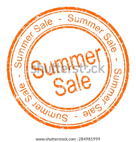 summer sale rubber stamp - stock photo