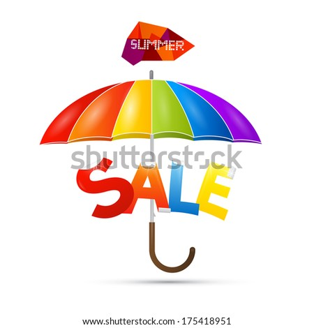 Summer Sale theme with colorful umbrella - Also Available in Vector Version  - stock photo
