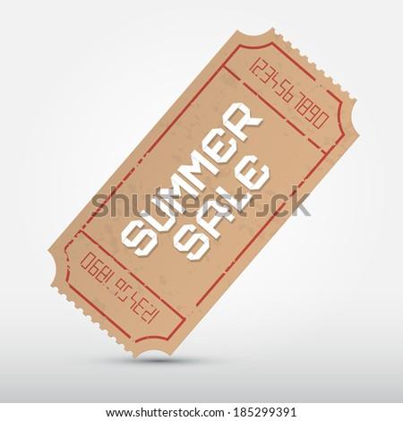 Summer Sale Ticket Illustration  - stock photo