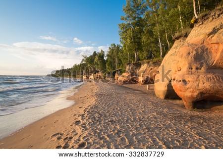 Summer sand beach of Baltic sea. - stock photo