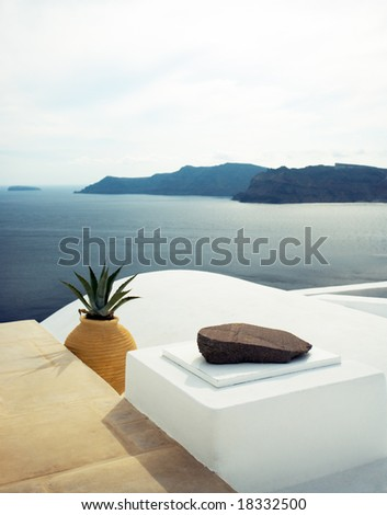summer scene in santorini island, greece - stock photo