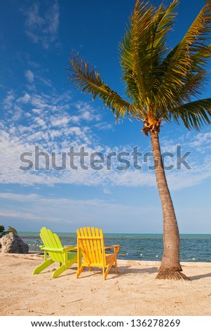 Summer scene with colorful lounge chairs on a tropical beach in Florida with palm tree and blue sky - stock photo