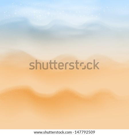 Summer sea beach background. Raster version of the loaded vector. - stock photo