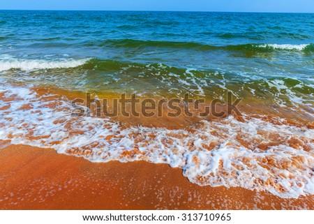 summer sea beach scene - stock photo