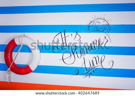 Summer sea decoration shell, lighthouse, life preserver, a studio in a bright color - stock photo