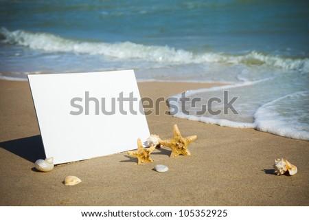 Summer,  sea  / Empty beach paper, you add the announcement. - stock photo