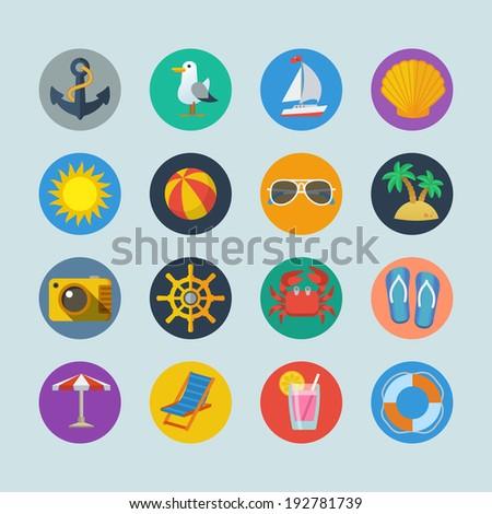Summer sea holidays icons with anchor seagull yacht seashell sun ball palm isolated  illustration - stock photo