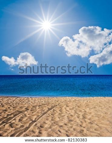 summer sea under a sparkle sun - stock photo