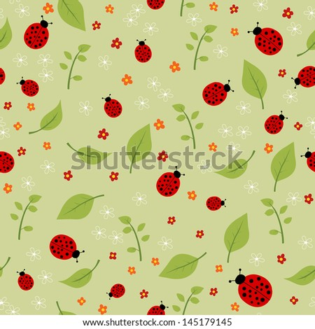 summer seamless pattern with leaves, flowers and ladybirds, rasterized vector. Vector file is also available in my portfolio. - stock photo