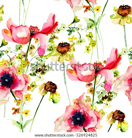 Summer seamless pattern with Stylized flowers, watercolor illustration