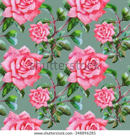 Summer Seamless Watercolor Pattern with Pink Roses and Leaves on a Green Background