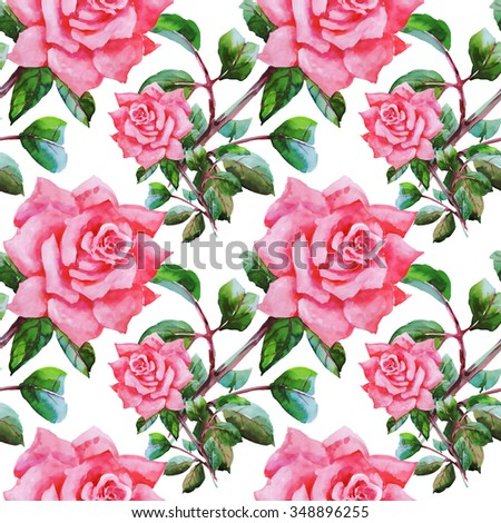 Summer Seamless Watercolor Pattern with Pink Roses and Leaves on a White Background