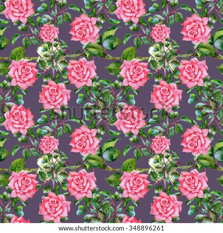 Summer Seamless  Watercolor Pattern with Pink Roses on a Purple Background