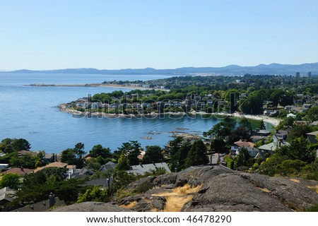 Summer seascape of oak bay in city victoria, british columbia, canada