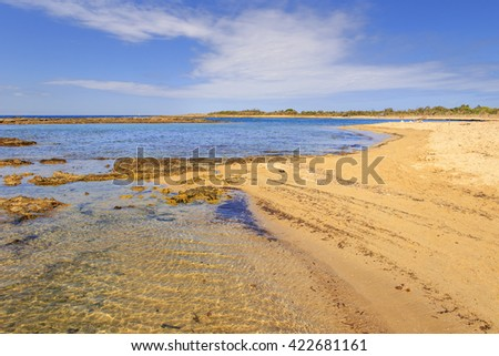 Summer seascape,Salento coast: Nature Reserve of Torre Guaceto.BRINDISI (Apulia)-ITALY-Mediterranean maquis: a nature sanctuary between the land and the sea. - stock photo