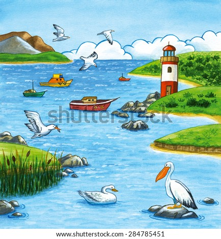 Summer seascape watercolor illustration with lighthouse, boats, seagulls and birds.  - stock photo