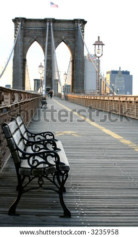 Summer seat on Brooklyn Bridge, Background out of focus - stock photo