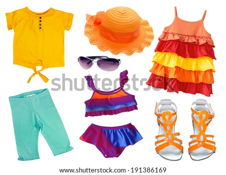 Summer set of clothing and accessories isolated on white. Kid clothes collage. - stock photo