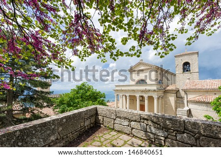 Summer shot of of Basilica Del Santo, San Marino, Italy - stock photo