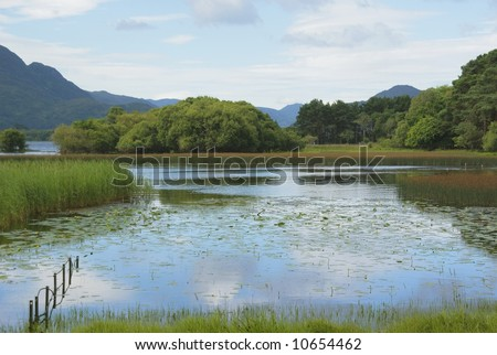 Summer sky reflected in the Lower Lake, (Lough Leane) Killarney, Ireland, with a patch of water lilies opening in the morning sunshine and a glimpse of blue mountains in the distance - stock photo