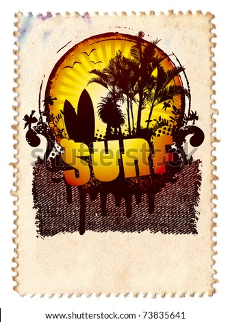 summer stamp with surf shield with sunset - stock photo
