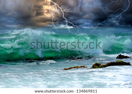 Summer storm beginning with lightning - stock photo