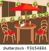 Summer street cafe. raster illustration - stock vector
