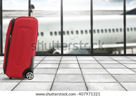 summer suitcase and floor and free space  - stock photo