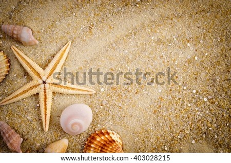 Summer. Summer background.Summer. Summer.  Summer accessories, Summer. Summer. Summer concept . Summer. Sea shells with sand as background. Summer. Summer frame. Summer. Summer.  Summer.    - stock photo