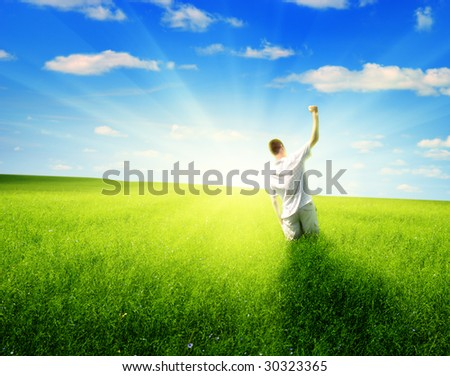 summer sun and happy man - stock photo