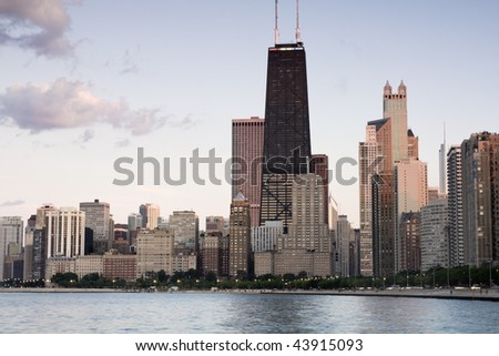 Summer sun rays in Chicago, IL. - stock photo