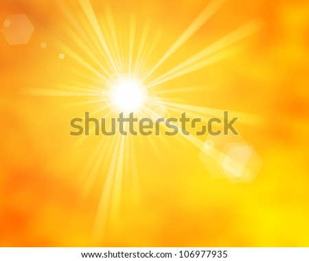 summer sun rays with lens flare - stock photo