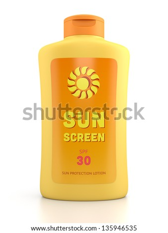 Summer, sun tanning and sunscreen concept. Bottle container of sun cream isolated on white glossy background. - stock photo
