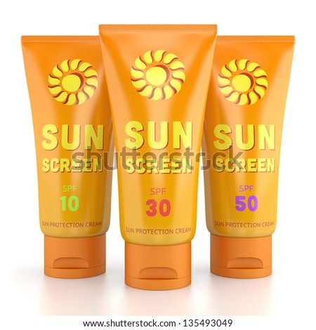 Summer, sun tanning and sunscreen concept. Tube containers of sun cream isolated on white glossy background. - stock photo
