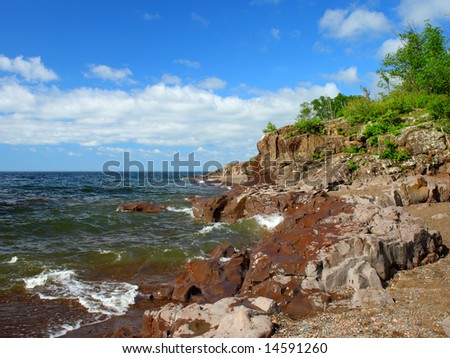 Summer sunny day on the North Shore of Lake Superior, Minnesota - stock photo