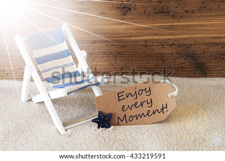 Summer Sunny Label And Quote Enjoy Ever Moment - stock photo