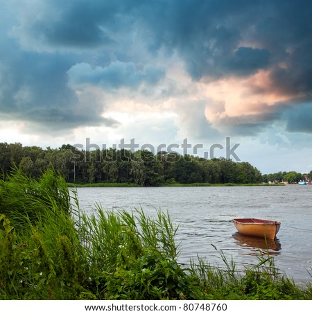 Summer sunrise on the lake - stock photo