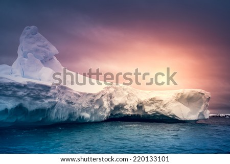 Summer  sunset in Antarctica.  Beautiful winter background. - stock photo