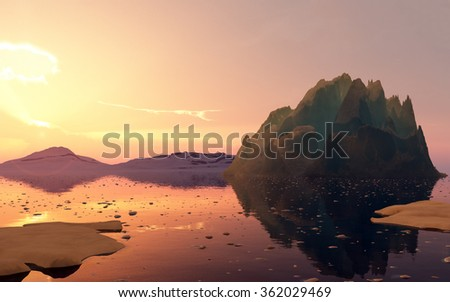 Summer sunset in Antarctica. Beautiful winter background. 3D render - stock photo