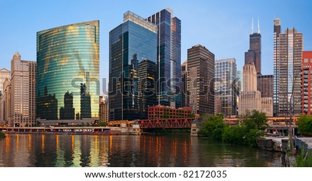 Summer sunset in Chicago downtown district. - stock photo