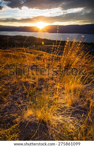 Summer Sunset in the Okanagan Valley and Lake Okanagan - stock photo