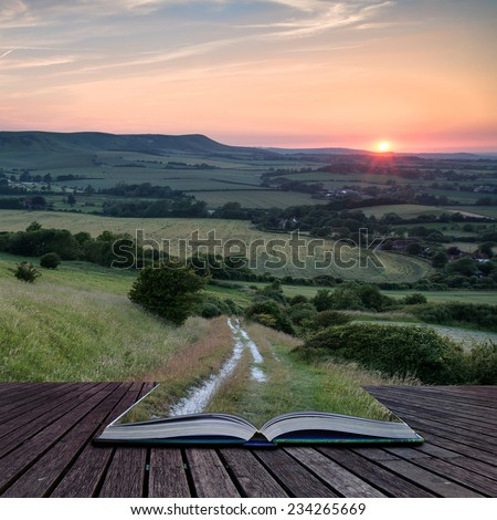 Summer sunset landscape overlooking English countryside - stock photo
