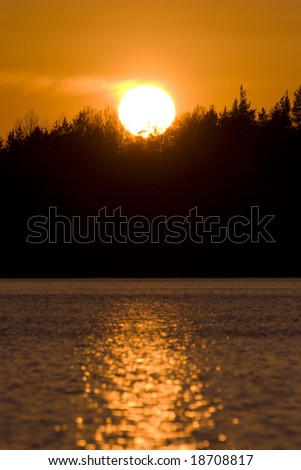 summer sunset on forest lake in Karelia, Russia - stock photo