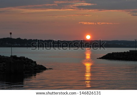 Summer sunset over Sydney Nova Scotia in July - stock photo