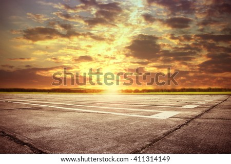 summer sunset time and free place for your plane
